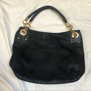 Cynthia Rowley Black Leather Scaley Tote Bag